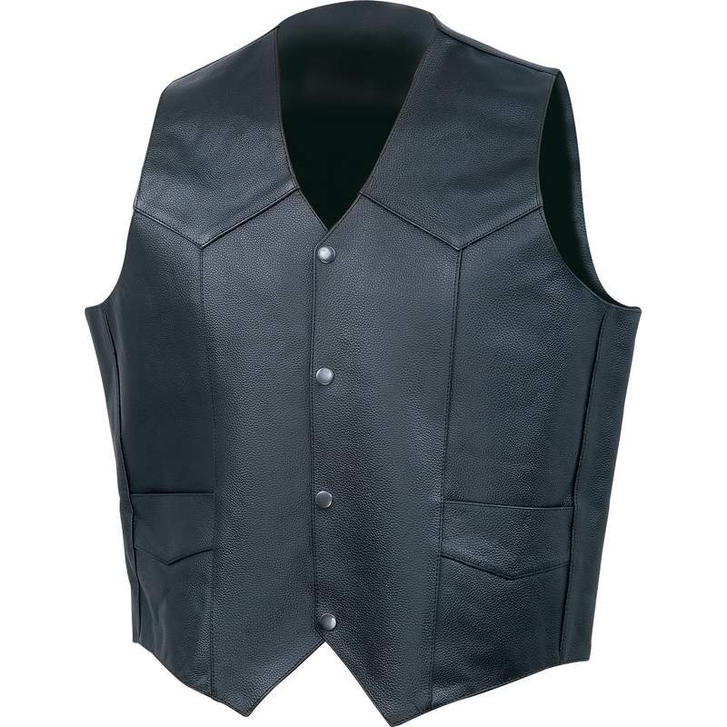 Diamond Plate™ Solid Genuine Leather Vest Medium - Click Image to Close